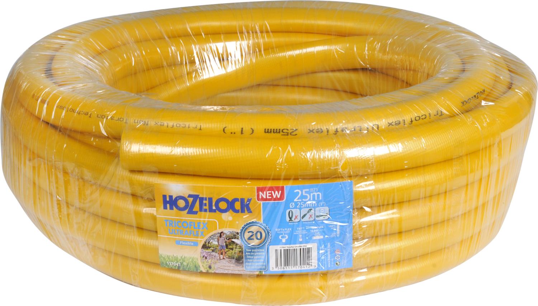 Шланг HoZelock Tricoflex Ultraflex, 25 мм 25 м117041Шланг HoZelock 117041 Tricoflex Ultraflex 25 мм 25 м • Повышенная эластичность• Устойчивость к перегибам и перекручиваниюСостоящий из 5-ти слоев Шланг HoZelock Tricoflex Ultraflex изготовлен по технологии, которая позволяет Шлангу легко маневрировать по участку. Гладкий внутренний слой обеспечивает максимальный ток воды. Однородный микропористый слой из ПВХ по технологии Soft&Flex придает прочность стенкам Шланга, облегчает вес (до 25% легче, чем у конкурентов) и улучшает маневренность. Шланг удобен в эксплуатации-легко сматывается в катушки и системы хранения. Специальное армированное плетение по технологии TNT предотвращает деформацию Шланга при скручивании; внешний слой из ПВХ защищает от повреждений, изготовлен по технологии Ergo Rib, благодаря которой Шланг комфортно держать в руке. Яркий желтый цвет позволяет Вам без труда увидеть Шланг на Вашем участке. Материалы, из которых состоит Шланг, являются безопасными для человека и окружающей среды-не содержат фталатов, тяжелых металлов и вредных токсинов.