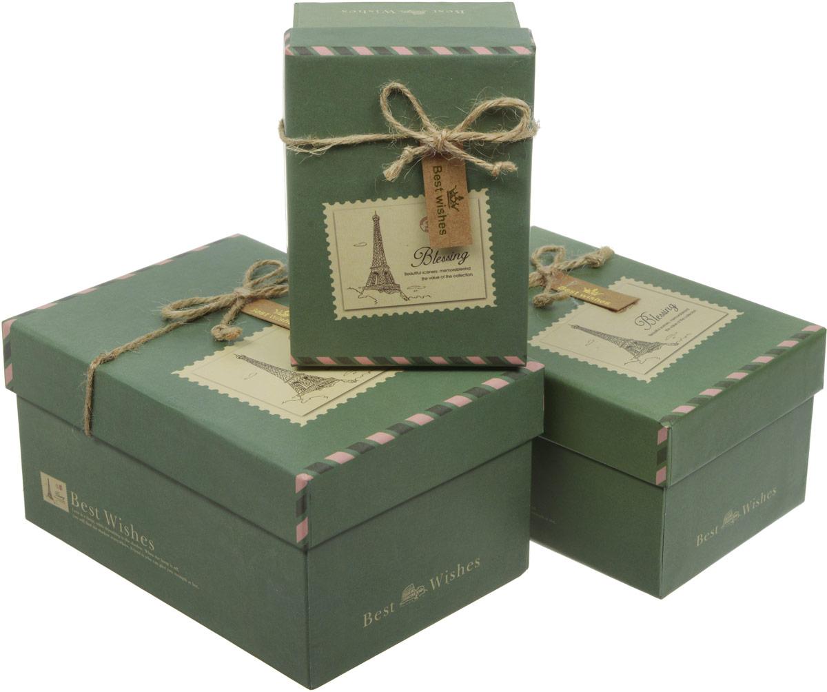 Набор подарочных коробок Veld-Co Сувенир, прямоугольные, цвет: зеленый, 3 шт набор подарочных коробок veld co перец чили и красные ромбы кубы 5 шт