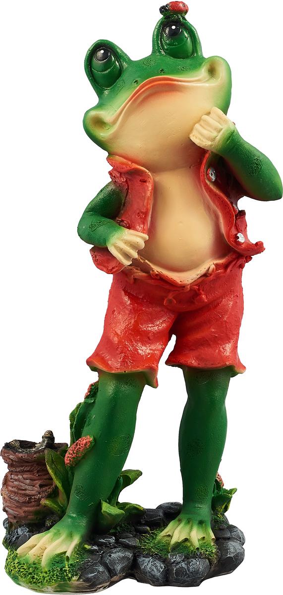 "Фото Фигура садовая ""Лягушонок-рыбак"", цвет: красный, зеленый, 20 х 15 х 33 см"