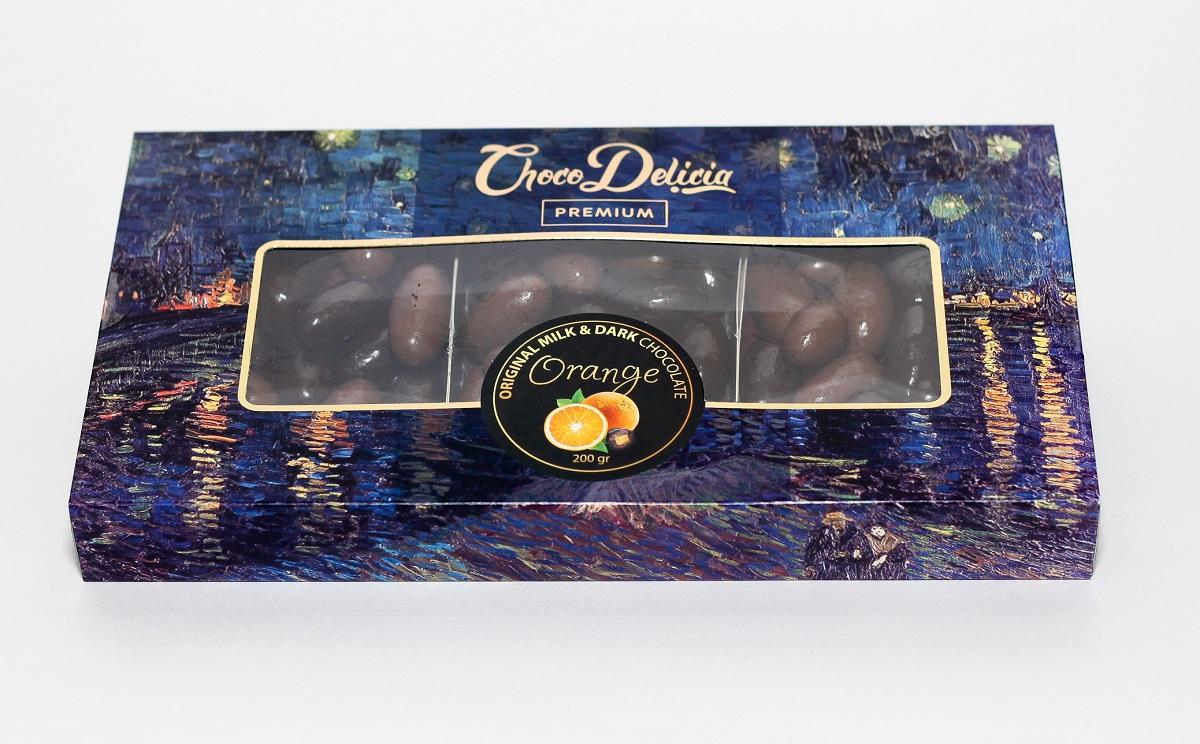 Choco Delicia Драже Цедра апельсина в темном и молочном шоколаде, 200 г barkleys chocolate cinnamon драже шоколад корица 50 г