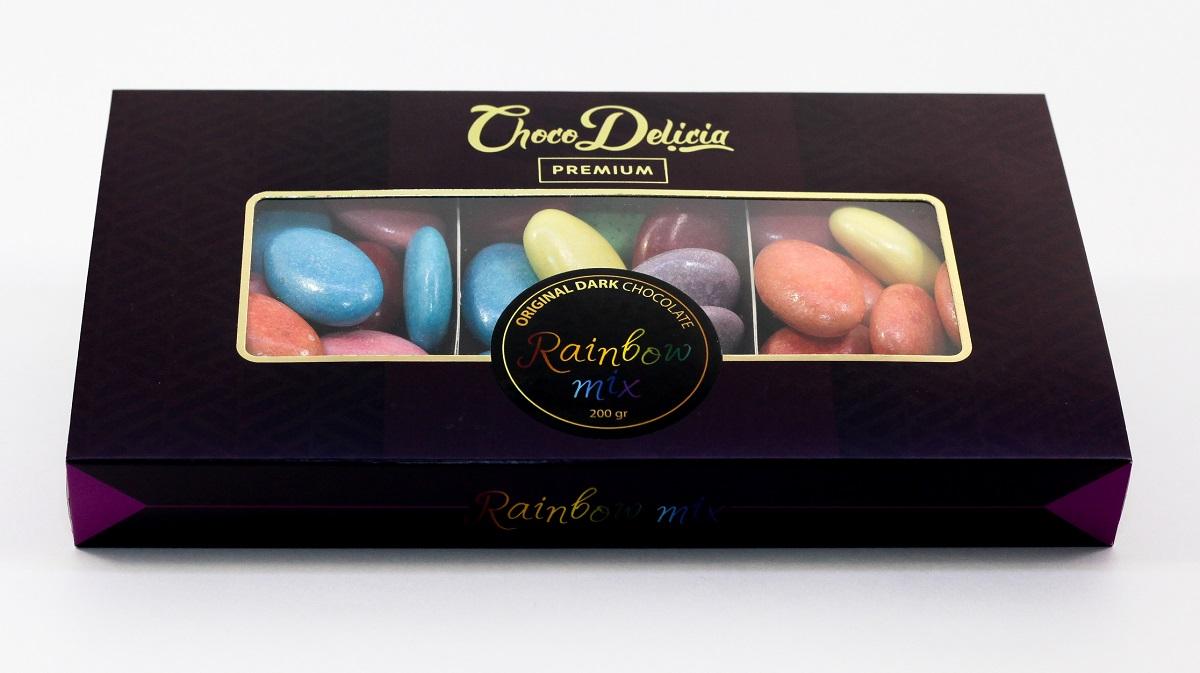 Choco Delicia Драже радужная серия микс, 200 г barkleys chocolate mint драже шоколад мята 50 г