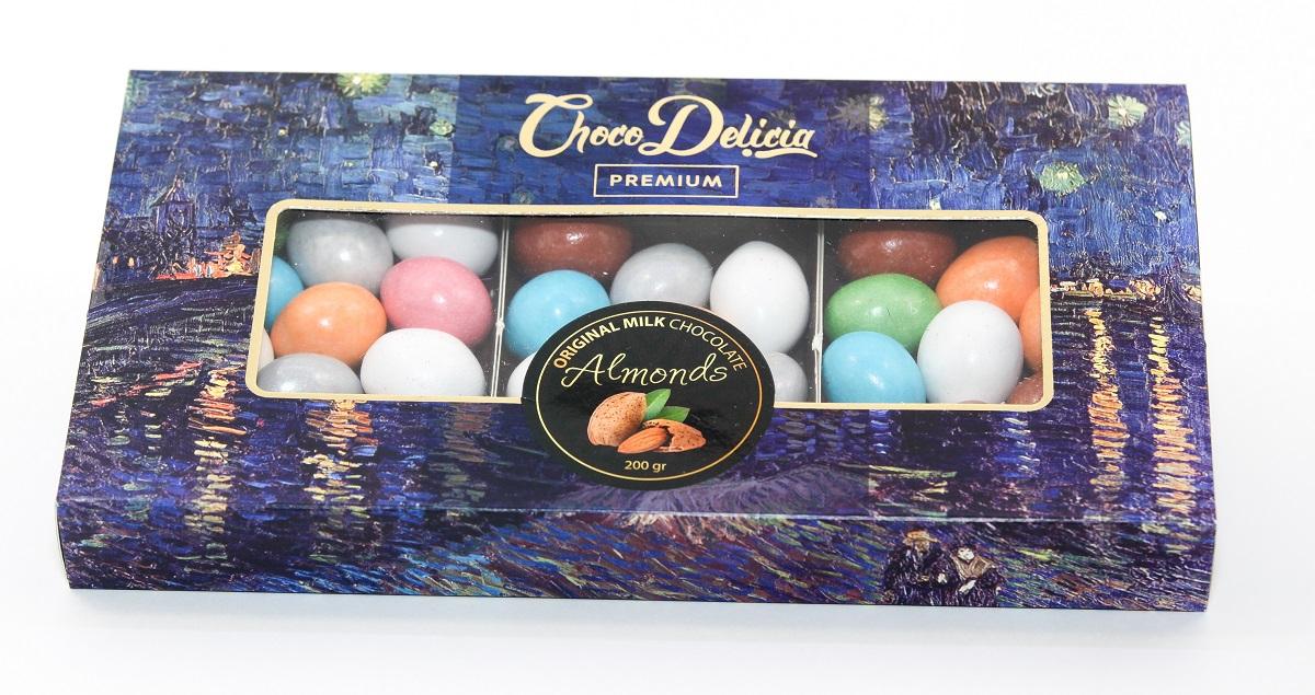 Choco Delicia Драже шоколадное цветное с миндалем, 200 г barkleys chocolate mint драже шоколад мята 50 г