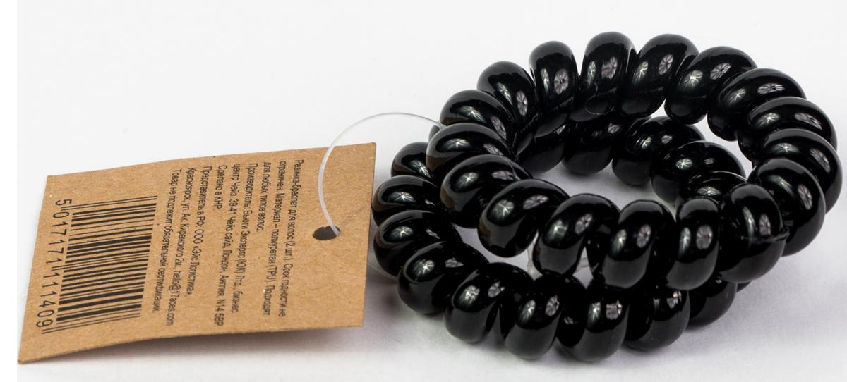 Muah! Резинка для волос, цвет: черный, 2 шт