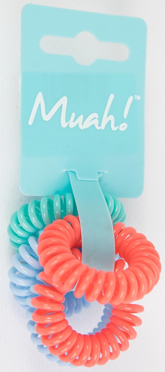 Muah! Резинка-браслет для волос, цвет: розовый, голубой, мятный, 5 шт