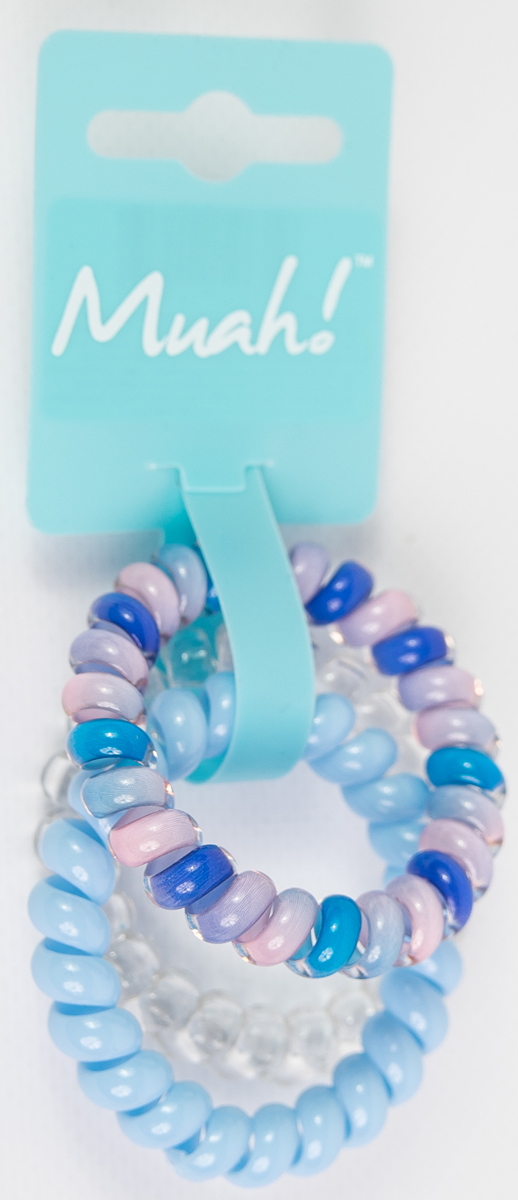 Muah! Резинка для волос, цвет: разноцветный, голубой, прозрачный, 3 шт
