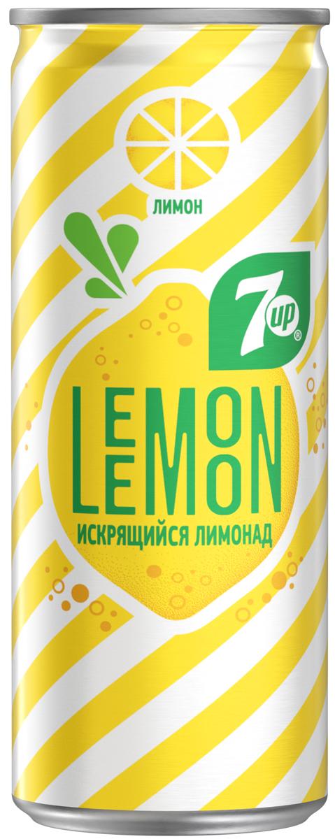 7-UP Lemon Искрящийся лимонад напиток сильногазированный, 0,25 л perrier напиток с ароматом лайма сильногазированный 0 25 л