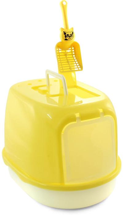Туалет для кошек Triol, закрытый, с совком, цвет: желтый, 50 х 35 х 34 см туалет для кошек curver pet life закрытый цвет кремово коричневый 51 х 39 х 40 см