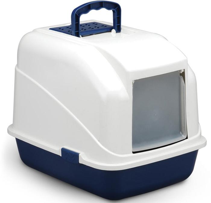 """Туалет для кошек """"Triol"""", закрытый, с совком, цвет: синий, 48 х 40 х 41 см"""