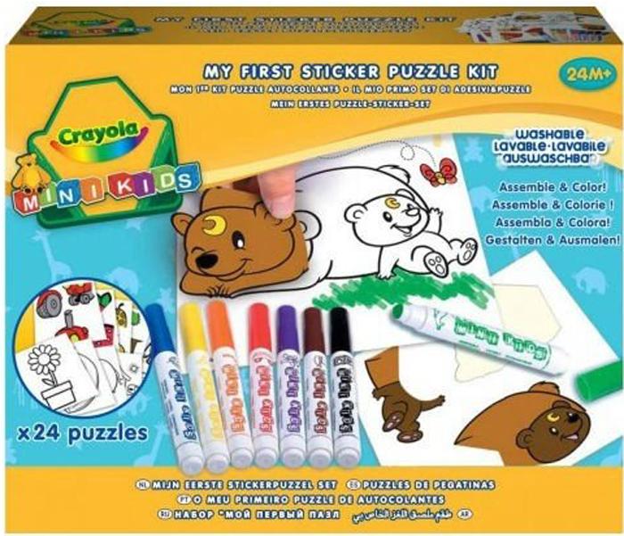 Crayola Набор для творчества Мой первый пазл с наклейками81-8113Набор Мой первый пазл с наклейками от производителя Crayola идеально подойдет дляраннего развития художественных навыков вашего крохи и подготовит его к детскому саду. Вкомплект входят 8 фломастеров разных цветов, 24 листа со стикерами, 24 листа с раскрасками.Малыш должен совместить наклейки с соответствующими рисунками, а дополнительныеэлементы ребенок сможет дорисовать самостоятельно. Для раскрашивания используютсяабсолютно безопасные маркеры, которые без труда можно смыть с ручек или одежды вашегокрохи. С помощью данного комплекта ребенок в игровой форме познакомится с объектами, формами ицветами, освоит навыки рисования. Набор упакован в красочную картонную упаковку и станетотличным подарком как мальчикам, так и девочкам от 2 лет.