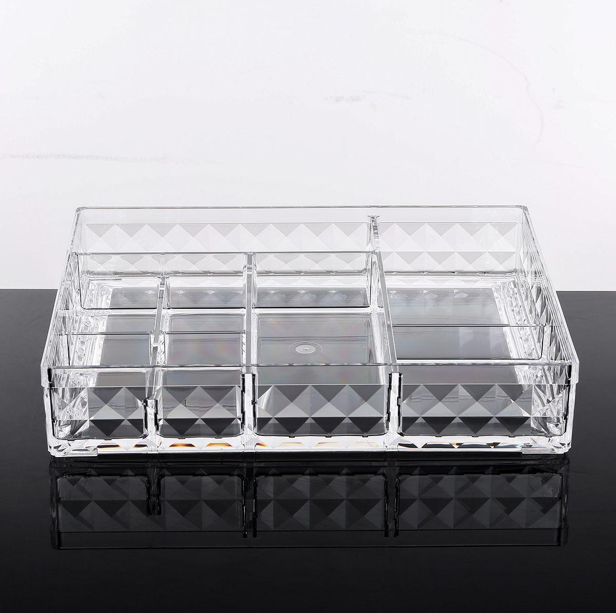 """Органайзер для хранения косметики Homsu """"Diamond"""" поможет вам не только сберечь время на поиски подходящих баночек, кисточек и тюбиков, но и сохранить порядок и чистоту на туалетном столике, на столешнице в ванной, на комоде, на подоконнике и на других открытых поверхностях.Материал: пластикКоличество секций: 8Размер: 25,2 х 20,2 х 4,9 см"""