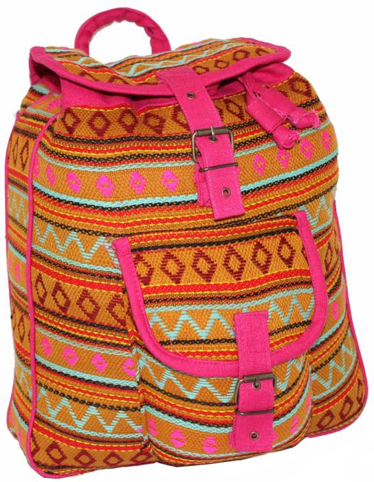 Рюкзак-торба женский Ethnica, цвет: оранжевый, фуксия. 187250