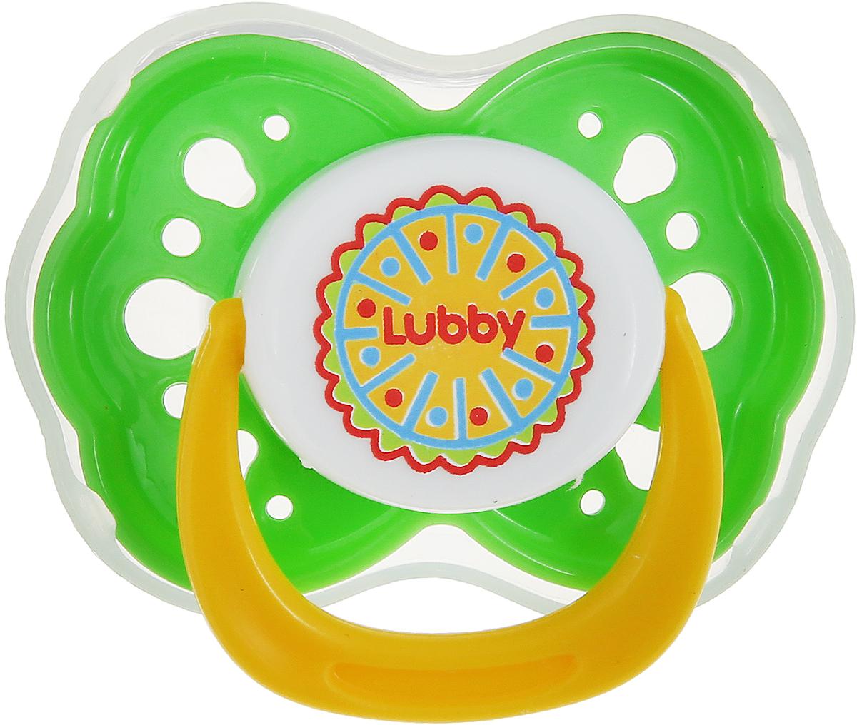 Lubby Пустышка силиконовая от 6 месяцев цвет зеленый желтый lubby