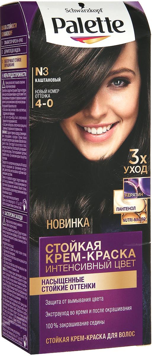 Palette Стойкая крем-краска N3 Каштановый 110мл09350300Знаменитая краска для волос Palette при использовании тщательно окрашивает волосы, стойко сохраняет цвет, имеет множество разнообразных оттенков на любой, самый взыскательный, вкус.Уважаемые клиенты! Обращаем ваше внимание на то, что упаковка может иметь несколько видов дизайна.Поставка осуществляется в зависимости от наличия на складе.