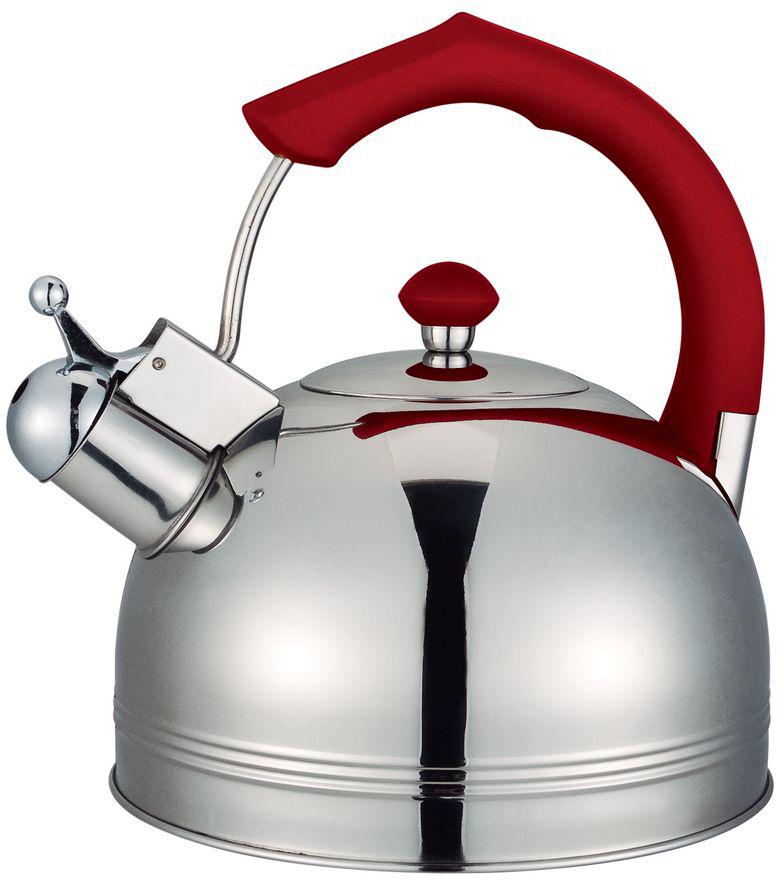 Чайник Bayerhoff, со свистком, цвет: металлик, красный, 4 л. BH-825 чайник со свистком cook