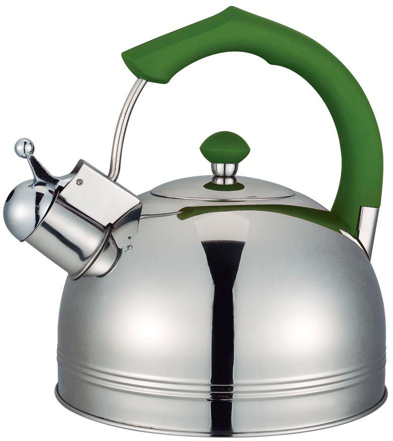 Чайник Bayerhoff, со свистком, цвет: металлик, зеленый, 4 л. BH-823BH-823Чайник Bayerhoff со свистком изготовлен из высококачественной нержавеющей стали. Эргономичная ручка не нагревается и не скользит. Чайник имеет оригинальный современный дизайн. Подходит для всех типов плит, включая индукцию.