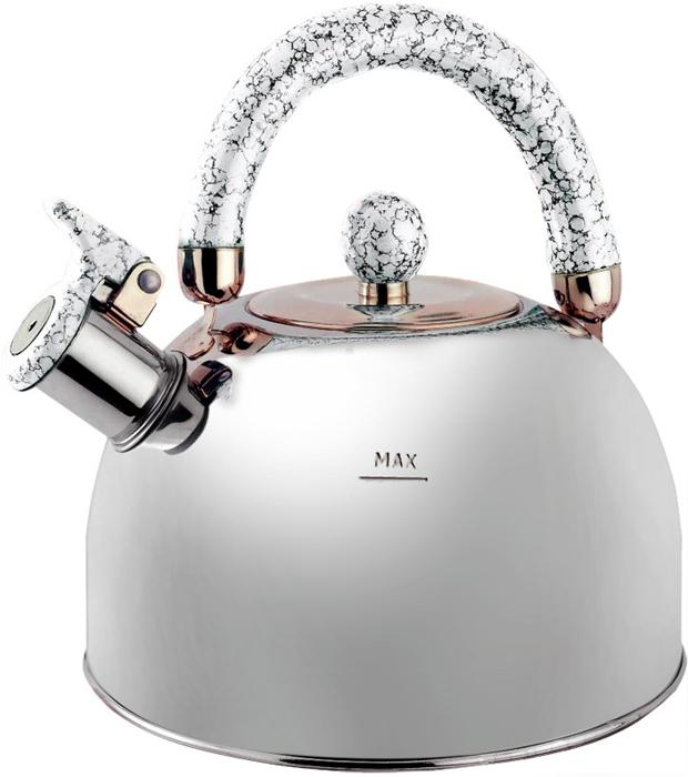 Чайник Queen Ruby, со свистком, цвет: металлик, белый, 3,5 л. QR-9044 набор для специй queen ruby цвет красный 2 предмета qr 8794