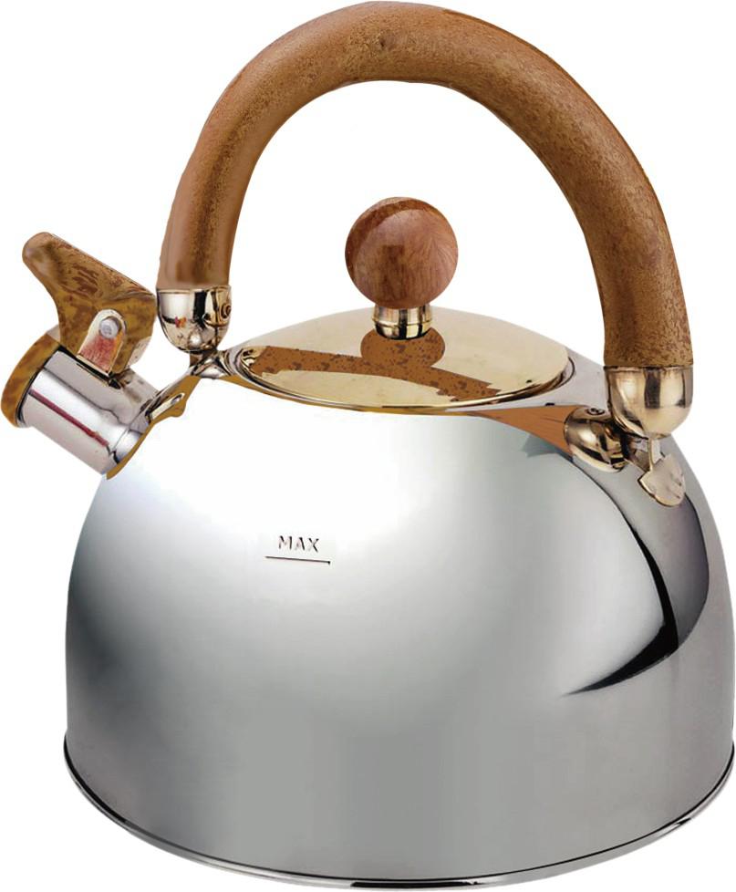 """Чайник """"Queen Ruby"""" изготовлен из высококачественной нержавеющей стали. Он имеет оригинальный современный дизайн. Он оснащен эргономичной ручкой и свистком.  Подходит для всех видов плит."""