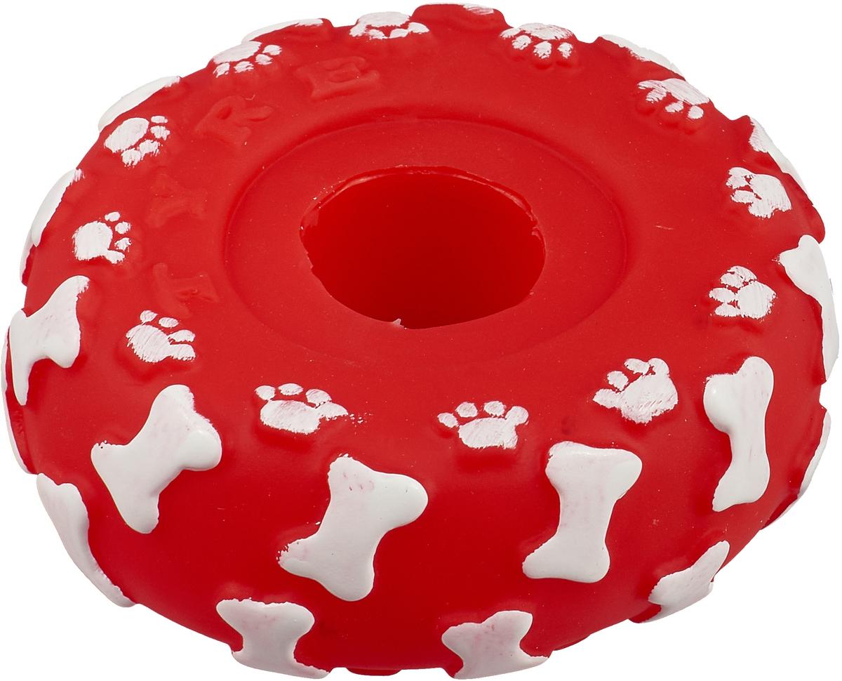 Игрушка для собак Уют Шина, цвет: красный, 10 см игрушка для собак уют тапочки 10 5 см