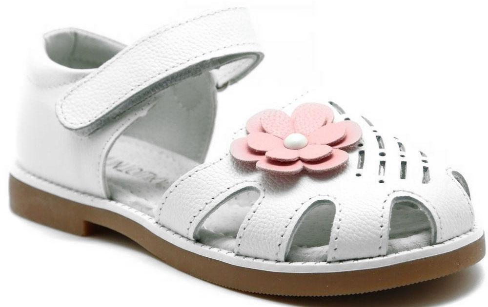 Сандалии для девочки Капитошка, цвет: белый, розовый. A9113. Размер 28