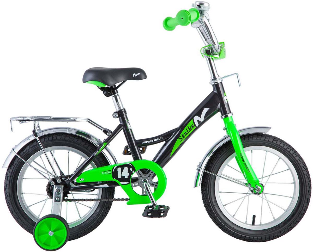 Велосипед детский Novatrack  Strike , цвет: черный, зеленый, 14  - Детские велосипеды