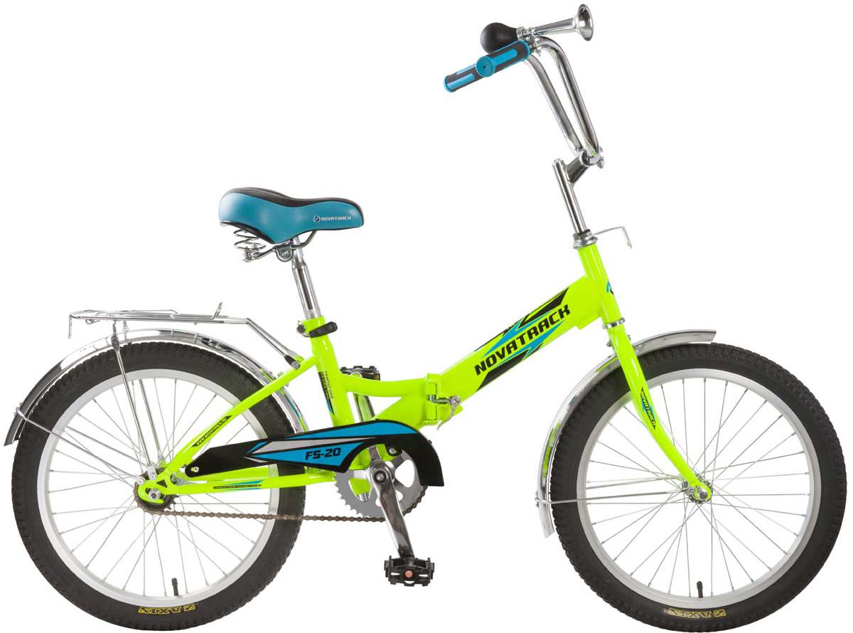 Велосипед складной Novatrack FS20, цвет: салатовый, 20