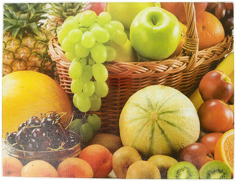 """Разделочная доска """"Фруктовый урожай"""" изготовлена из жаропрочного стекла. Функциональная и простая в использовании, разделочная доска отлично впишется в интерьер любой кухни и прослужит вам долгие годы."""