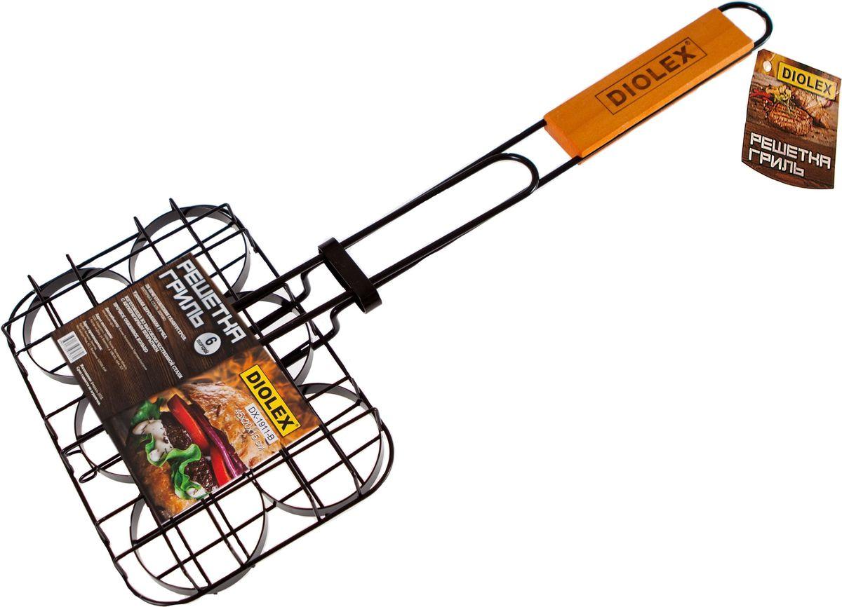 Решетка-гриль Diolex, для гамбургеров, с хромированным покрытием, цвет: черный, 20 x 15 смDX-G1911-BРешетка-гриль для гамбургеров 20 x 15 см