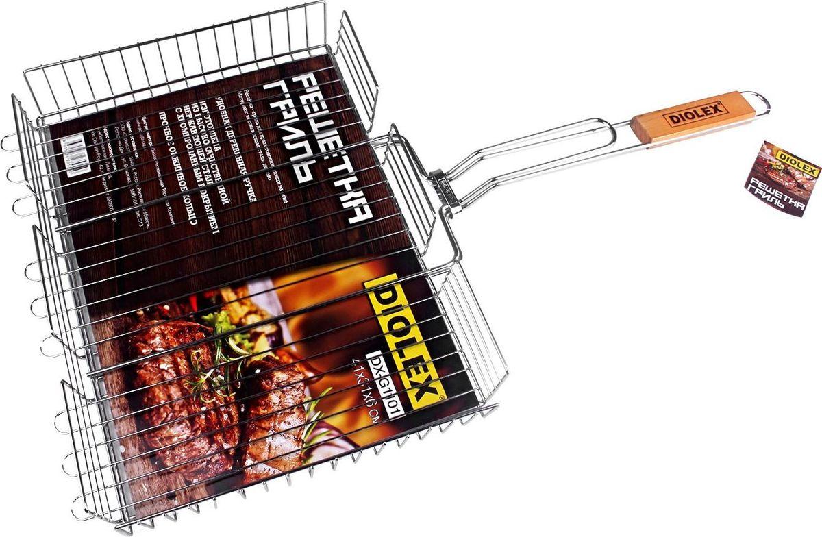 Решетка-гриль изготовлена из высококачественной нержавеющей стали с хромированным покрытием.  Приготовление вкусных блюд из рыбы, мяса или птицы на пикнике становится еще более быстрым и удобным с использованием решетки-гриль.  Изделие имеет деревянную вставку на ручке, предохраняющую руки от ожогов и позволяющую без труда перевернуть решетку. Надежное кольцо-фиксатор гарантирует, что решетка не откроется, и продукты не выпадут.