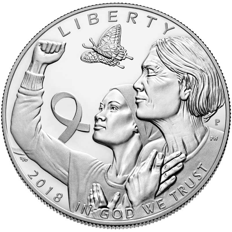 Монета номиналом 1 доллар 2018 США, Осведомленность о раке молочной железы, серебро Proof
