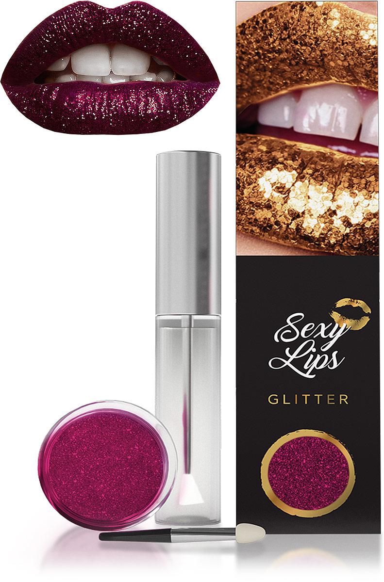 Sexy Lips Набор глиттер для губ: клеевая основа, 10 мл + глиттер, 3 г, тон №6 + щеточка