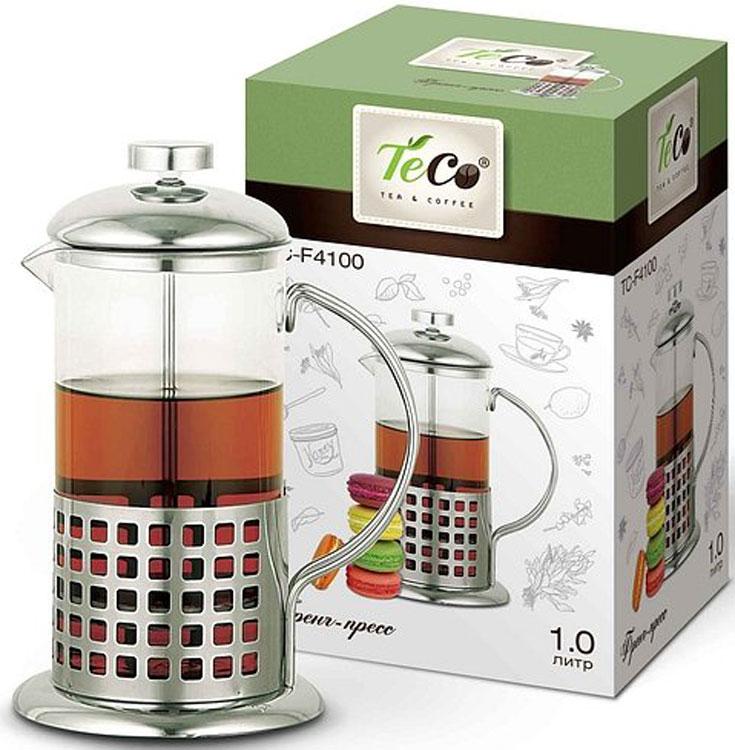 """Френч-пресс """"Teco"""" с корпусом из стекла и нержавеющей стали предназначен для заваривания чая, приготовления кофе и других напитков.  Колба изготовлена из жаропрочного стекла и имеет практичный носик, что препятствует образованию подтеков и делает френч-пресс еще более удобным в обращении.  Благодаря прозрачности стекла, можно визуально оценить состояние заварки и ее крепость.  Благодаря специальному поршню с встроенным фильтром, изготовленным из нержавеющей стали, напиток получается чистым и прозрачным.  Френч-пресс прост в эксплуатации и уходе: он легко разбирается и моется.  Также его можно мыть в посудомоечной машине."""