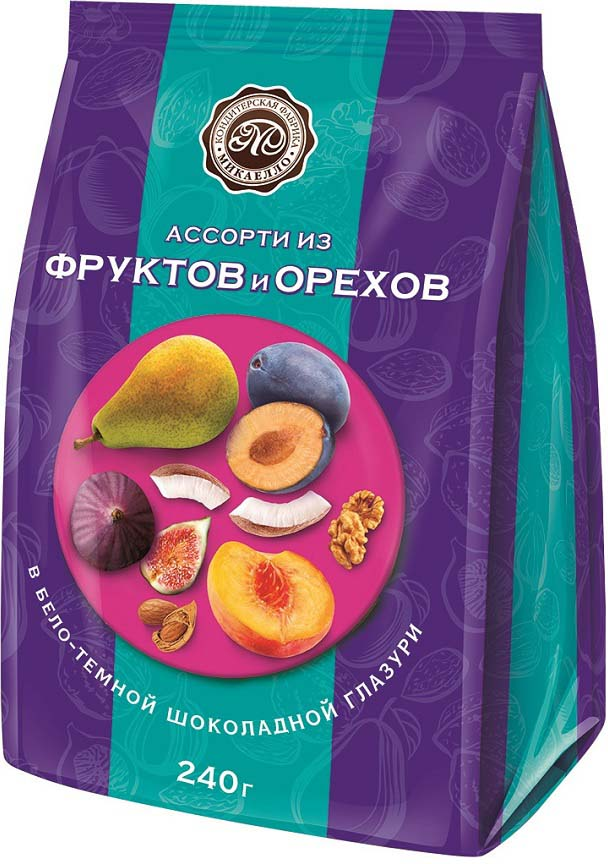 Микаелло Ассорти из фруктов и орехов в бело-темной шоколадной глазури, 240 г