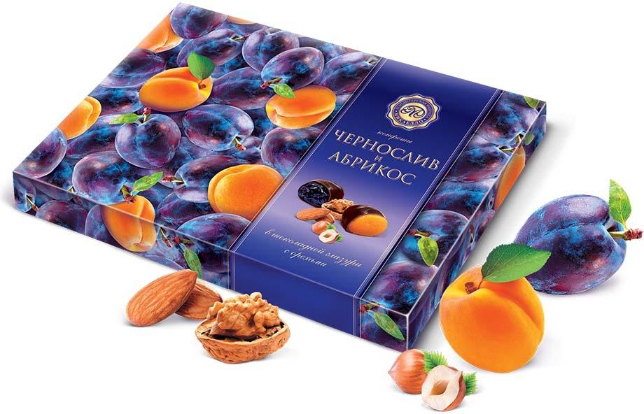 Микаелло Чернослив и абрикос в шоколадной глазури с орехами, 220 г