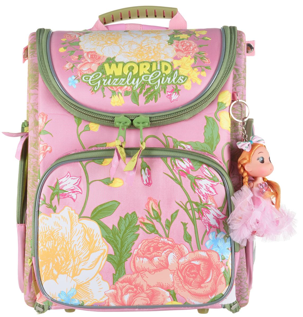 Grizzly Рюкзак с мешком для обуви цвет розовый RA-871-4 steiner рюкзак для 4 11 классов 4 st4 steiner