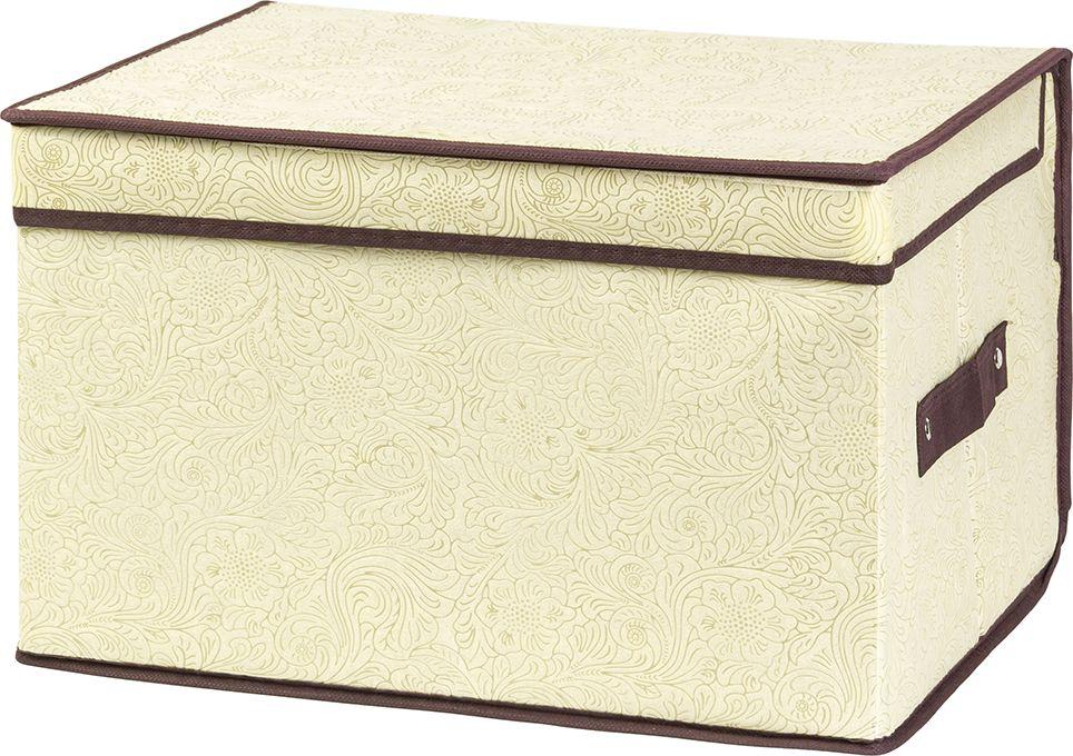 Кофр складной EL Casa Цветы на золотом, для хранения, 40 x 30 x 25 см кофр для хранения el casa соты складной цвет зеленый 40 x 30 x 25 см