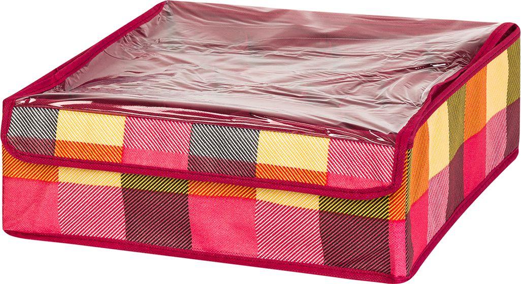 Кофр для хранения вещей EL Casa Яркая клетка, 12 секций, 32 x 32 x 12 см кофр для хранения el casa соты складной цвет зеленый 40 x 30 x 25 см