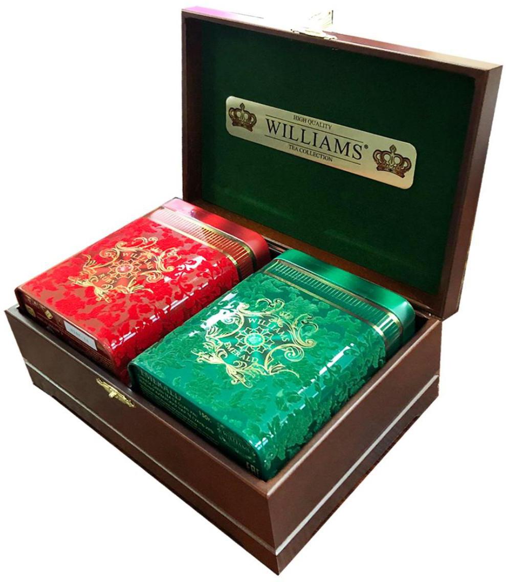 Williams Бархатная шкатулка чайный набор (орех), 2 шт по 150 г заготовка деревянная для декупажа шкатулка из фанеры без надписей а6 150 126 50мм