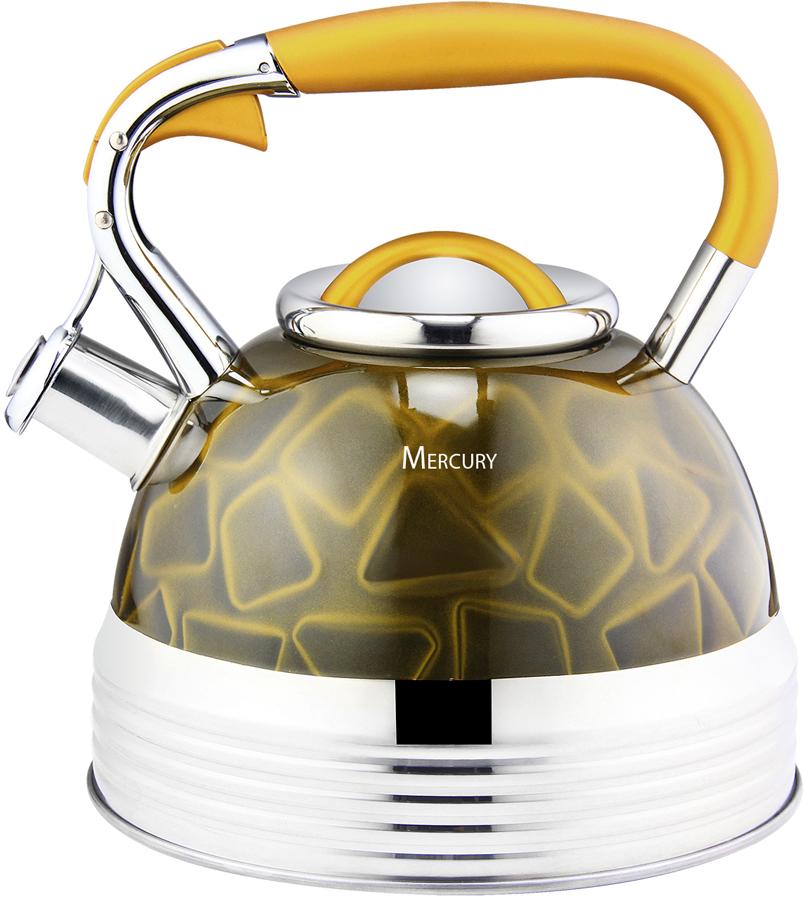 """Чайник """"Mercury"""" свистит при закипании воды. Клавиша открывания крышки носика. Эргономичная ручка с покрытием Soft Touch. Энергосберегающее капсульное дно. Подходит для всех типов плит, включая индукцию."""