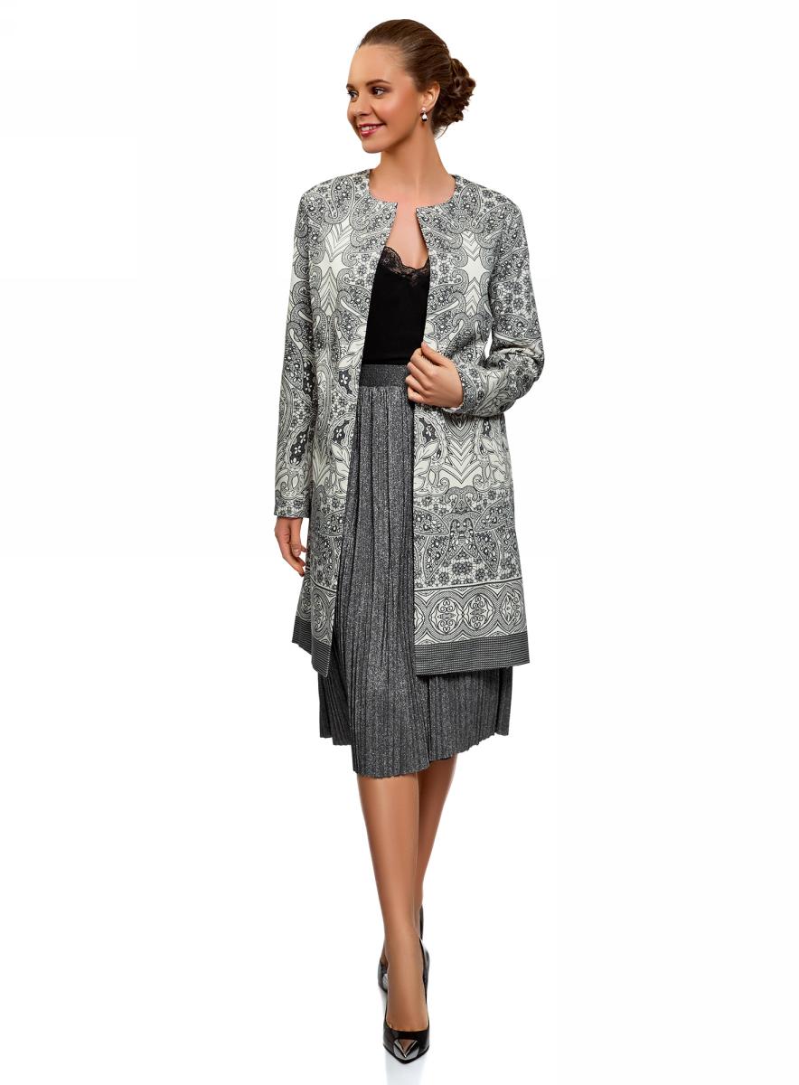 Пальто женское oodji Ultra, цвет: белый, черный. 10103038/14522/1229E. Размер 48 (48-170)