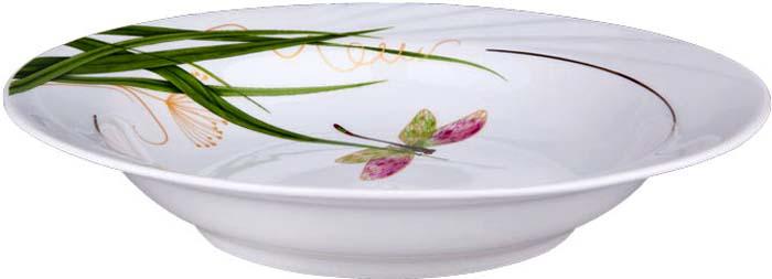 Тарелка суповая от Добрушского фарфорового завода выполнена из фарфора. Подходит для использования в посудомоечной машине. Не использовать в СВЧ печи и на открытом огне.