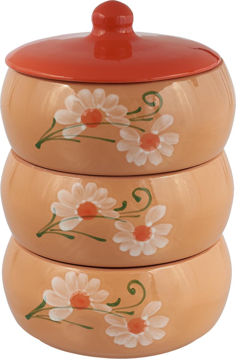Набор для холодца Борисовская керамика Русский, цвет: бежевый, оранжевый, 4 предмета набор столовой посуды борисовская керамика русский 3 предмета 900 мл