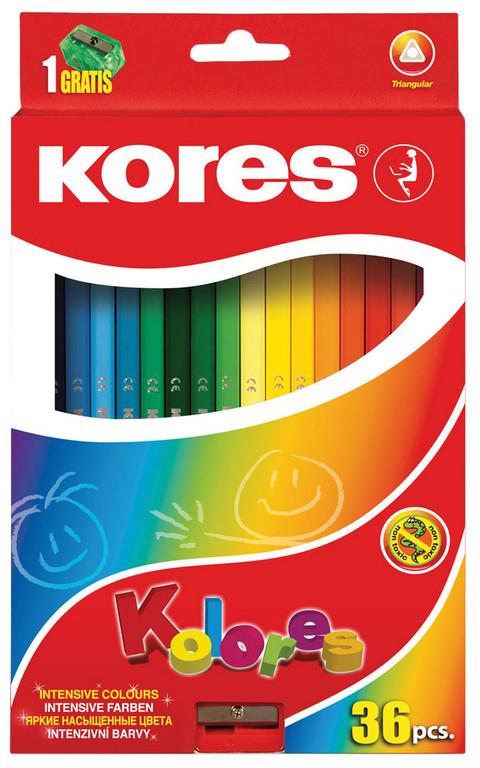 Kores Набор цветных карандашей с точилкой 36 цветов 128904 карандаши bruno visconti набор карандашей цветных disney белоснежка 6 цветов