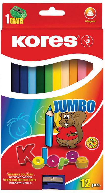 Kores Набор цветных карандашей Jumbo с точилкой 12 цветов erichkrause двухцветные треугольные карандаши jumbo c точилкой
