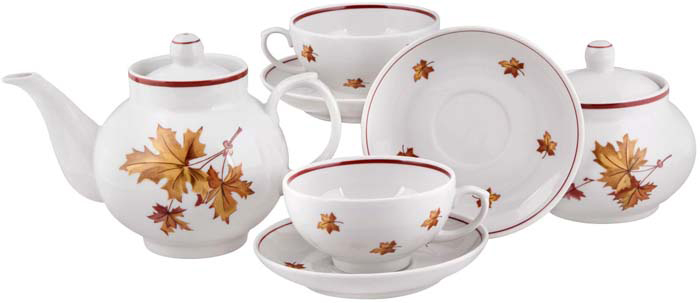 """Чайный сервиз """"Рубин. Осень"""" станет незаменимым элементом среди коллекции вашей посуды. Ежедневное чаепитие в компании семьи или друзей ни с чем не сравнить. И тут не обойтись без красивой посуды, из которой приятно выпить ароматного чаю. Посуда выполнена из качественного белого фарфора, украшенного изящным узором.Подходит для использования в посудомоечной машине. Не использовать в СВЧ печи и на открытом огне."""