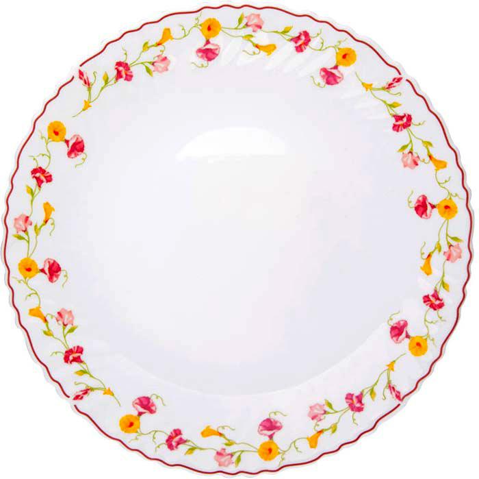 """Тарелка обеденная Miolla """"Вьюнок"""" изготовлена из стеклокерамики и подходит для повседневного использования. Такая тарелка изысканно украсит сервировку как обеденного, так и праздничного стола.  Всегда актуальный дизайн подойдет для любого случая: и для обеда с друзьями, и для праздничного застолья.  Можно нагревать в микроволновой печи и мыть в посудомоечной машине."""