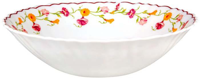 """Тарелка суповая Miolla """"Вьюнок"""" изготовлена из стеклокерамики и подходит для повседневного использования. Такая тарелка предназначена для сервировки супа или салата.  Всегда актуальный дизайн подойдет для любого случая: и для обеда с друзьями, и для праздничного застолья.  Можно нагревать в микроволновой печи и мыть в посудомоечной машине."""