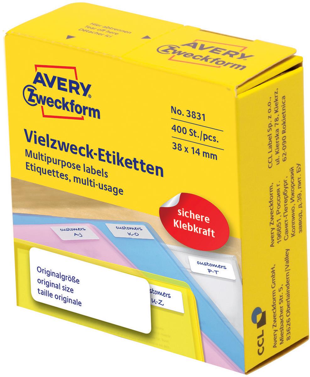 Avery Zweckform Этикетки самоклеящиеся универсальные в диспенсере цвет белый 38 x 14 мм 400 шт