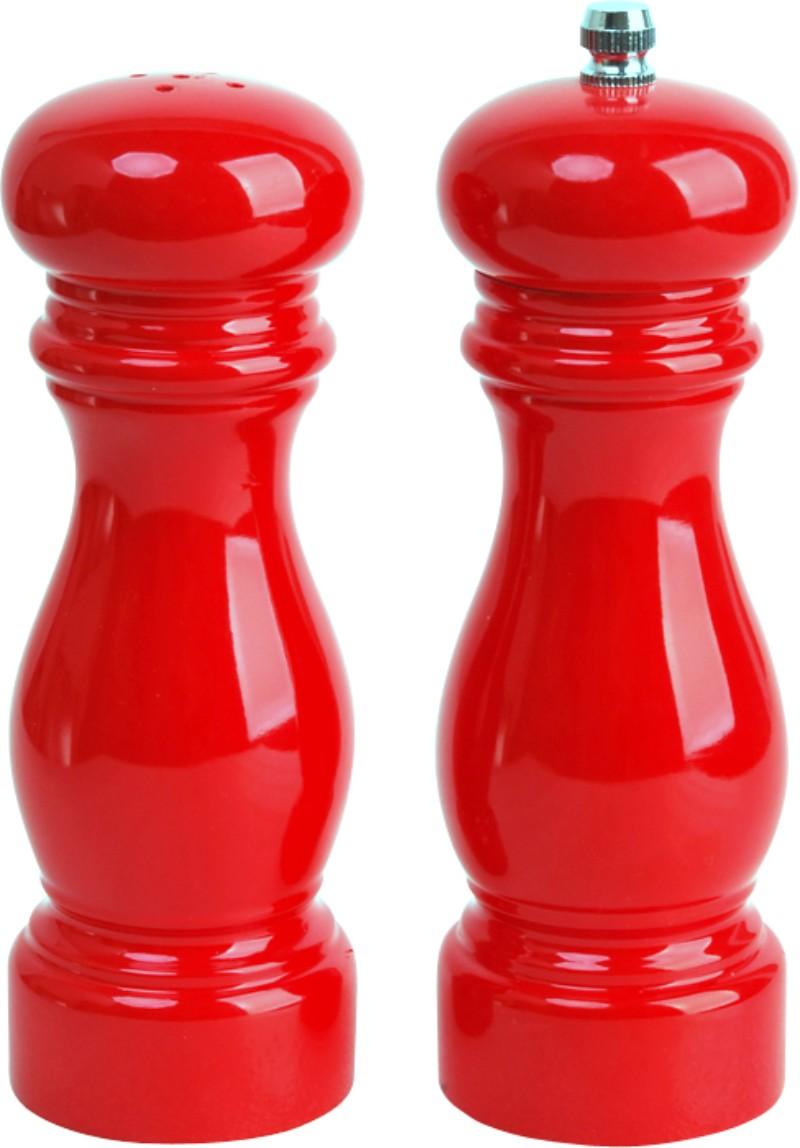 Набор для специй из 2 предметов: измельчитель для перца и солонка. Стальной красный корпус. Оцинкованный металлический измельчитель.