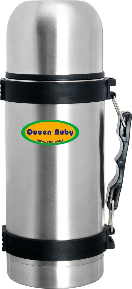 """Термос """"Queen Ruby"""" выполнен из высококачественной нержавеющей стали.Особенности: Клапан с вакуумной теплоизоляцией сохраняет напитки горячими или холодными долгое время. Удобная пробка с кнопкой позволяет наливать содержимое не откручивая пробку.Крышка выполнена из пищевого пластика.Объем: 1 л."""