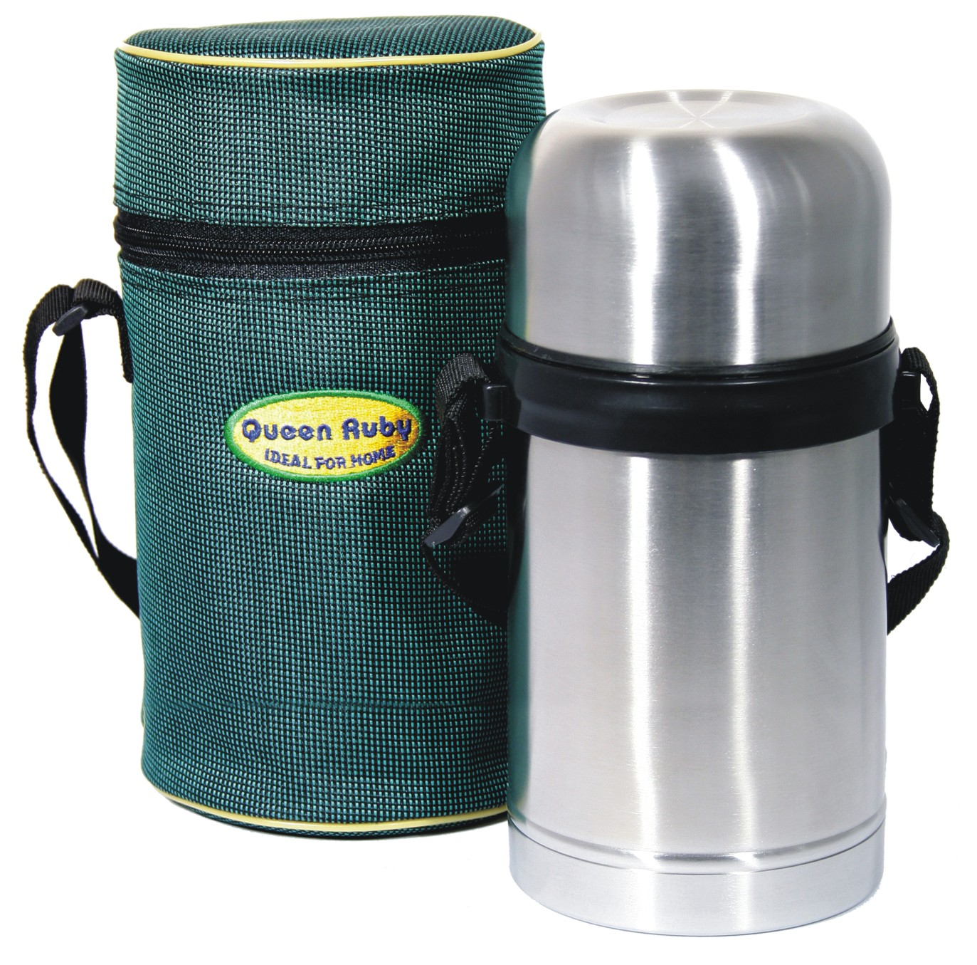 """Термос """"Queen Ruby"""" выполнен из высококачественной нержавеющей стали.Клапан с вакуумной теплоизоляцией сохраняет напитки горячими или холодными долгое время.  Удобная пробка с кнопкой позволяет наливать содержимое не откручивая пробку. Крышка-чашка выполнена из пищевого пластика. В комплекте чехол.Объем: 1 л."""